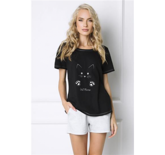 Pijama T-shirt Black Kitten